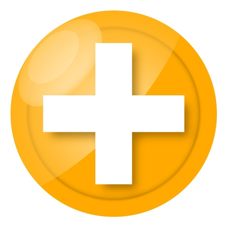 medical preparation: First aid medical sign isolated on white background Stock Photo