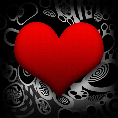 Big red heart on abstract metal background