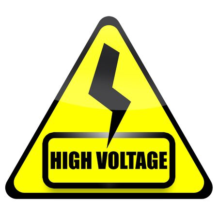 triangular warning sign: High voltage sign with thunder isolated over white background Stock Photo