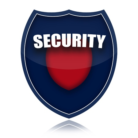 security laws: Security shield illustration isolated over white background