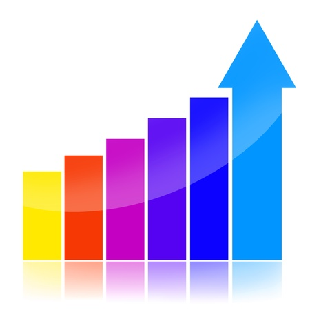 Success charts with colorful statistical bars and upward arrow isolated over white background