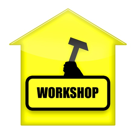 toolbox: Workshop sign with hammer illustration isolated over white background