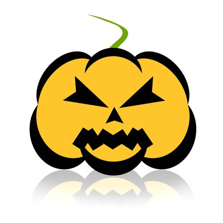 ghoulish: Scary Halloween pumpkin illustration over white background