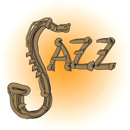 saxy: Jazz illustration with saxophone and letters Stock Photo