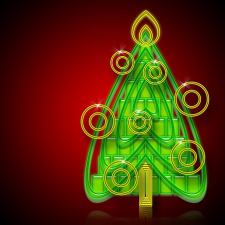 newyear card: Abstract Christmas Tree on red  background