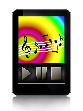 pentagrama musical: MP3 music jugador toque pantalla moderna multimedia gadget aislada sobre fondo blanco