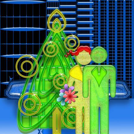 symbolic: Happy Couple and Christmas Tree