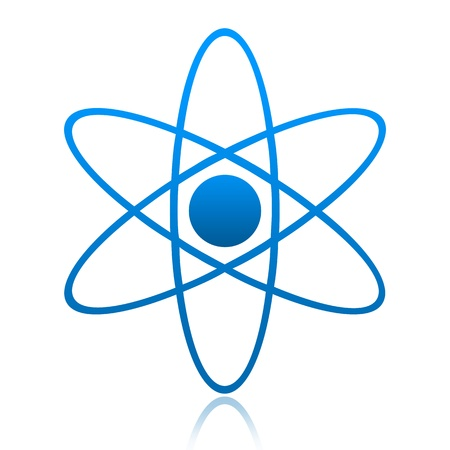Atom symbol isolated over white background Stock Photo - 10915489