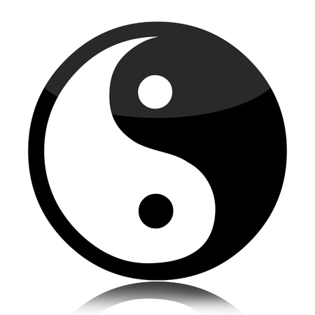 Yin Yang glossy symbol isolated over white background photo