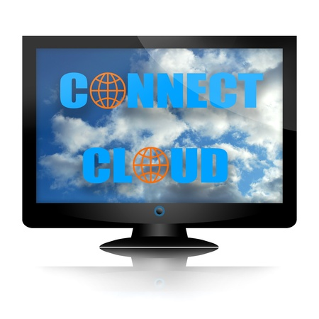 Cloud operating system internet concept with computer monitor isolated over white background photo