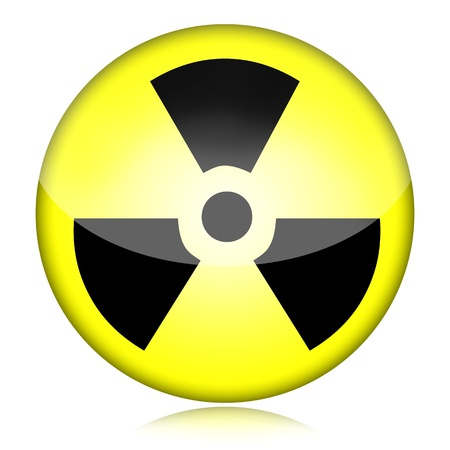 waste recovery: Radioactive nuclear danger symbol isolated on white background Stock Photo