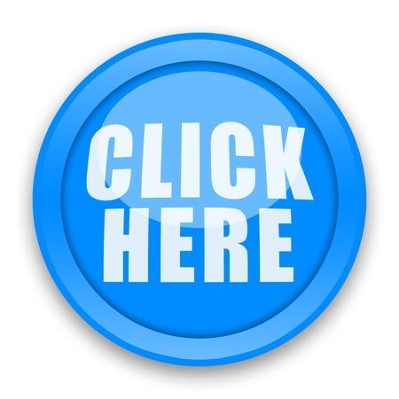 klik: Klik hier glanzend knop op witte achtergrond Stockfoto