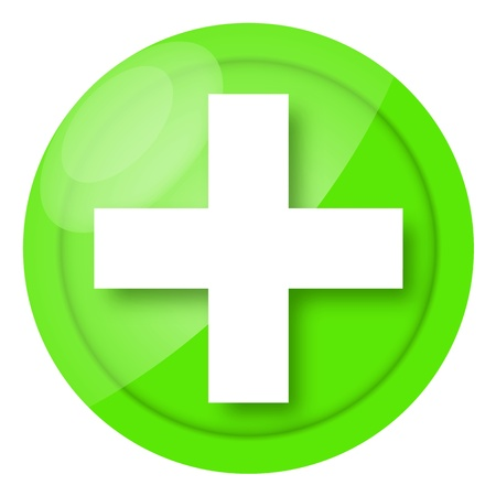 Green medical sign isolated on white background photo