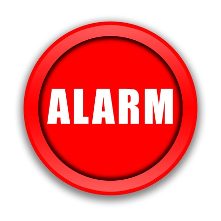 intrusion: Big red Alarm button illustration on white background Stock Photo
