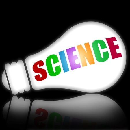 Science concept with bright electric lamp vs black background