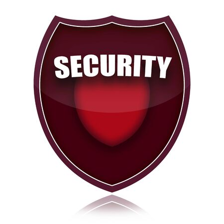 Red security shield isolated over white background photo
