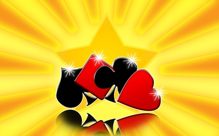 snatch: Golden casino background with playing card suits and shining star Stock Photo