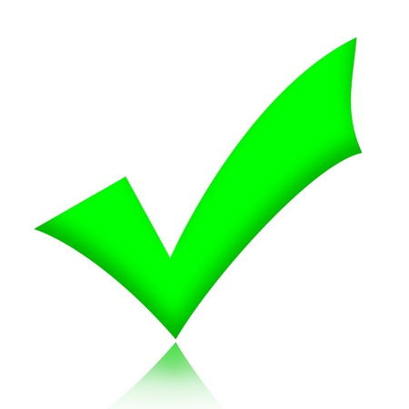 Green check mark sign illustration over white background Foto de archivo
