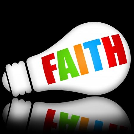 fede: Concetto di fede con brillante lampada elettrica contro scuro sfondo nero