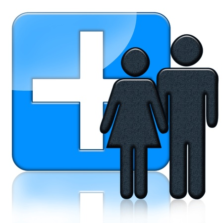Blue medical icon with cross and people over white background