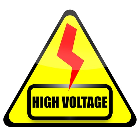 triangular warning sign: High Voltage sign with red thunder isolated on white background Stock Photo