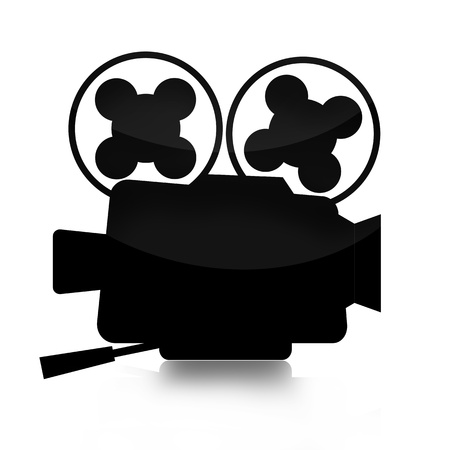 film history: Movie camera silhouette isolated on white background