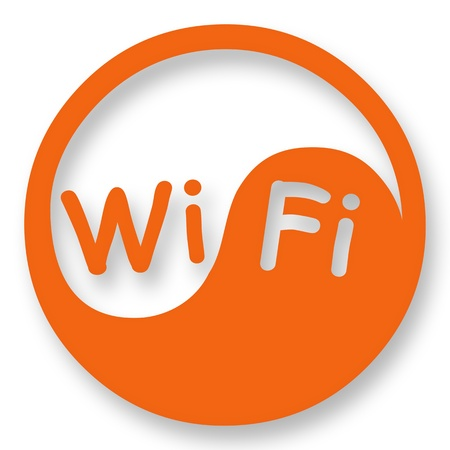 internet cafe: Wi-Fi a Internet en se�al de acceso estilizada Yin Yang