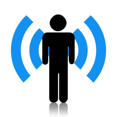wireless hot spot: Wi-Fi icon with human isolated over white background