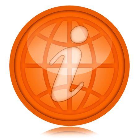 esfera de cristal: Icono de color naranja con el s�mbolo de la informaci�n y el mundo interior de la esfera de vidrio aislado sobre fondo blanco
