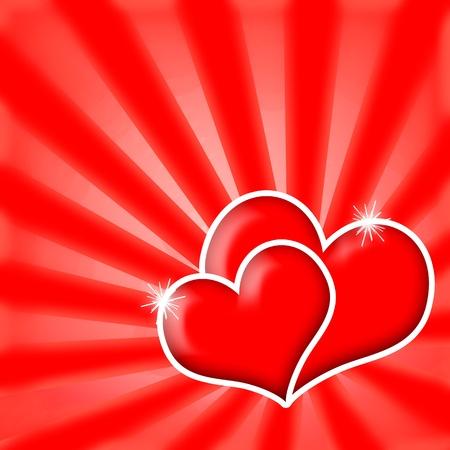 Romantic love hearts couple on red shining background Foto de archivo
