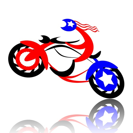 cartoon biker: American biker jumping on high-speed motorcycle isolated on white background Stock Photo