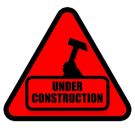 debugging: Under construction red sign illustration isolated on white background
