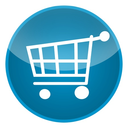 e store: Shopping cart isolated over white background