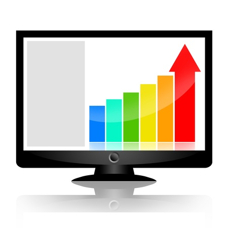 Business statistics on the screen of computer monitor isolated on white background photo