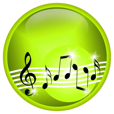 Musical illustration with dancing treble clef and notes isolated over white background Foto de archivo