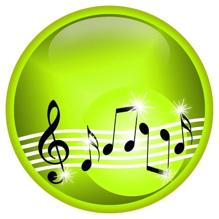 voices: Ilustraci�n musical con baile clave de sol y notas aisladas sobre fondo blanco