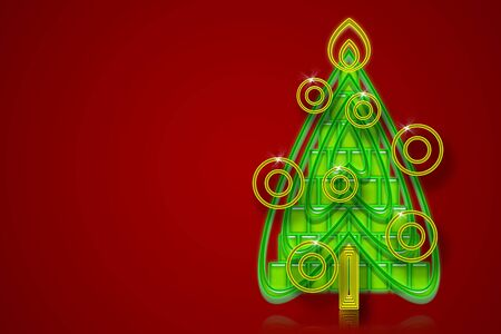 Red background with Christmas Tree photo