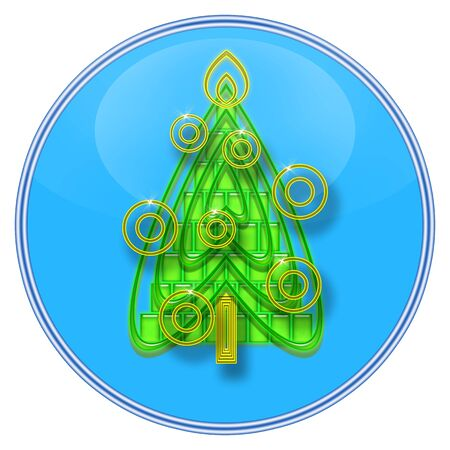 Christmas Tree inside blue glass sphere isolated over white background photo