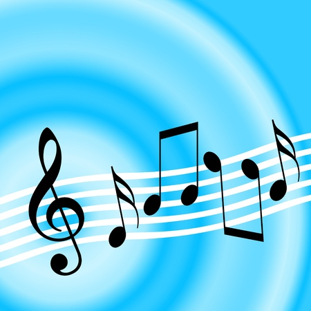 Blue music background with treble clef and random musical notes Imagens