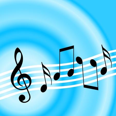 pentagrama musical: La m�sica de fondo azul con clave de sol y notas musicales al azar Foto de archivo