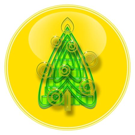 Christmas Tree inside yellow glass sphere isolated over white background photo