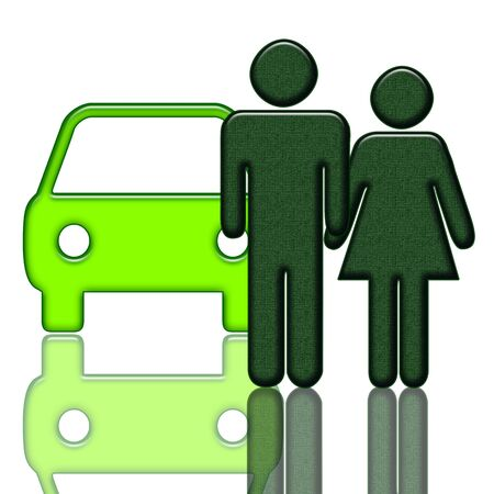 Car and couple illustration over white background illustration