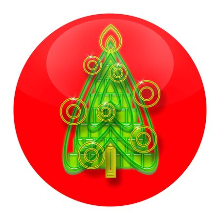 Christmas Tree inside red Xmas ball isolated on white background photo