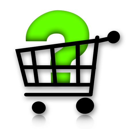 Shopping cart with big green question mark inside photo