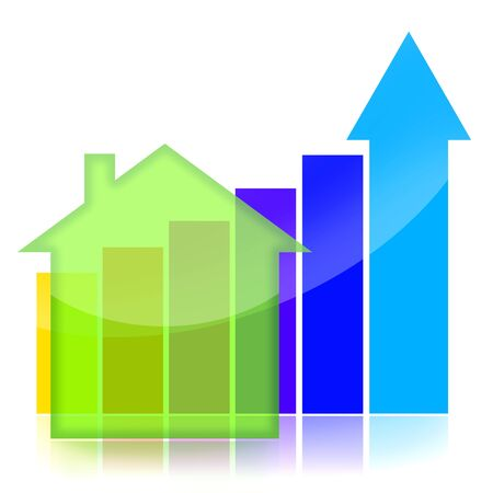 Real estate market business charts over white background