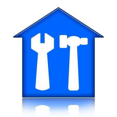House with tools icon isolated over white background