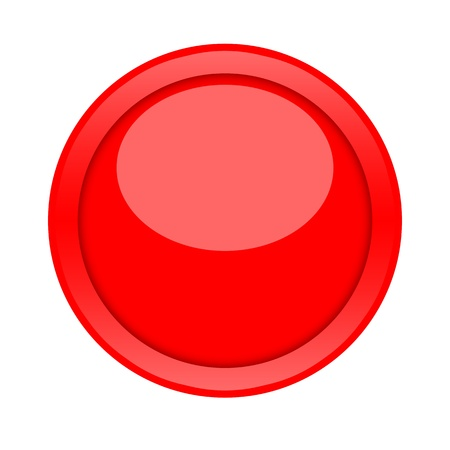 Large red glossy button isolated on white background photo