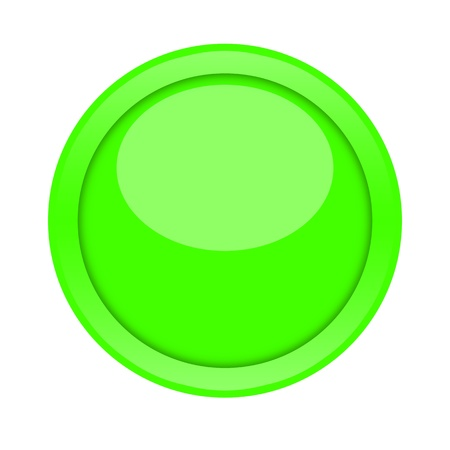 Large green glossy button isolated on white background photo