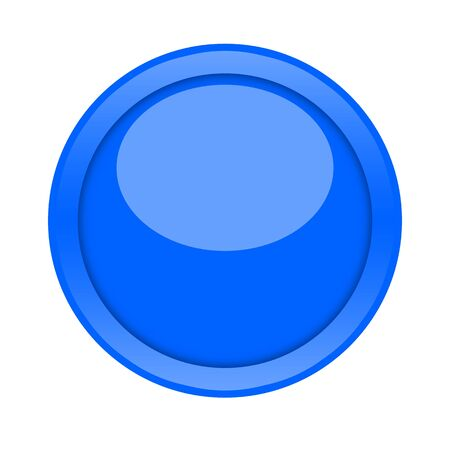 Large blue glossy button isolated on white background photo