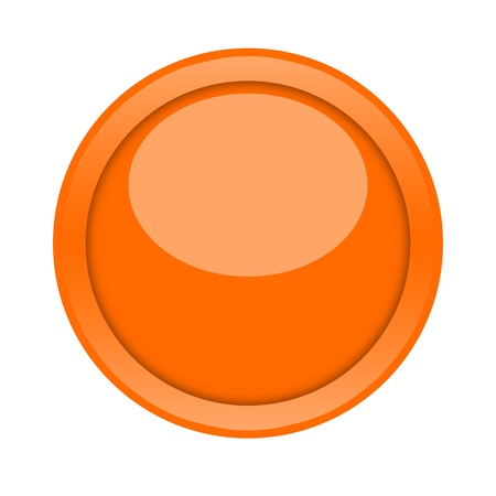 pushing the button: Gran bot�n de color naranja brillante sobre fondo blanco